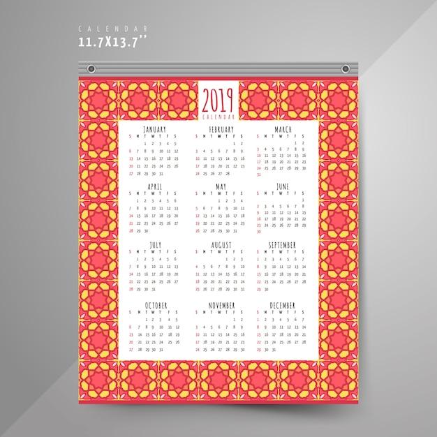 Calendário de 2019 com padrões coloridos Vetor Premium
