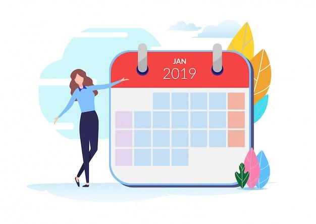 Calendário de 2019 Vetor Premium