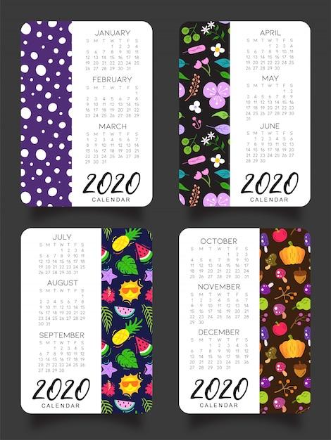 Calendário de 2020 quatro estações Vetor Premium