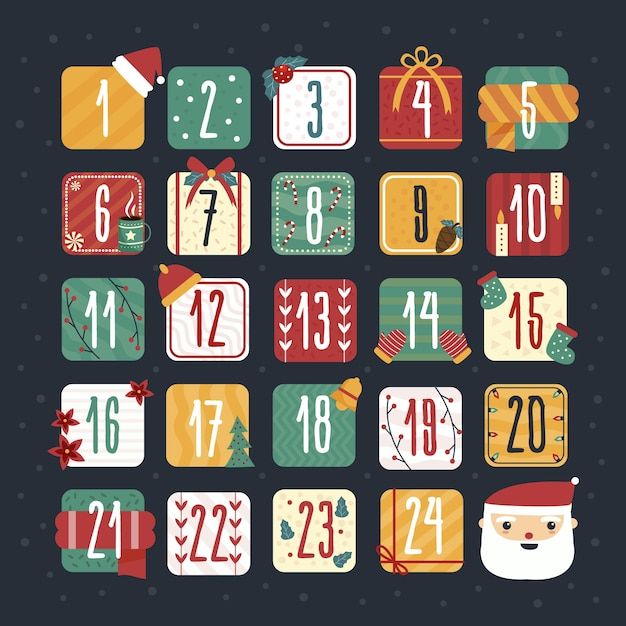 Calendário de advento festivo de mão desenhada Vetor grátis