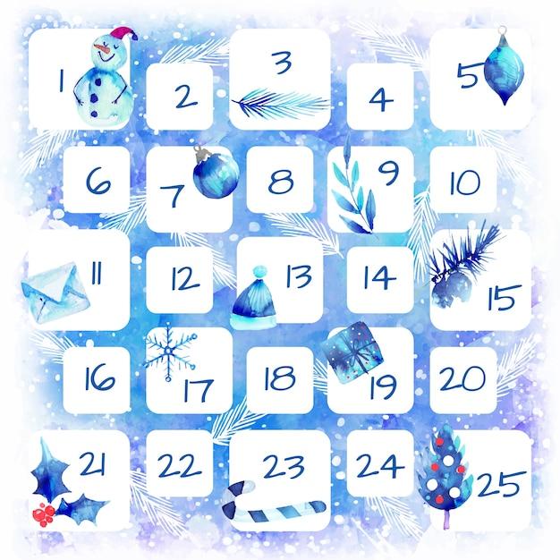 Calendário de advento festivo em aquarela Vetor grátis