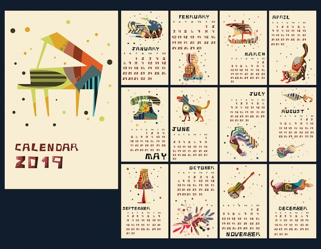 Calendário de ano novo 2019 ilustração vetorial Vetor Premium