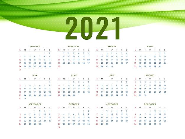 Calendário de ano novo 2021 com onda verde elegante | Vetor Grátis
