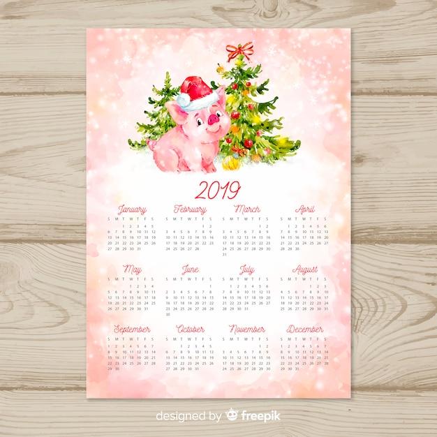 Calendário de ano novo chinês aquarela 2019 Vetor grátis