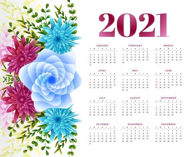 Calendário de ano novo com decoração de flores Vetor grátis