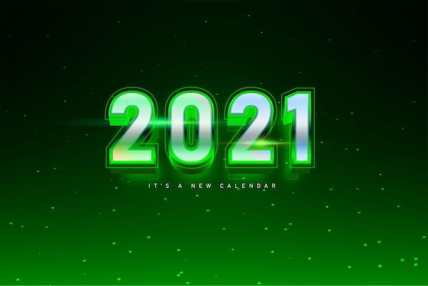 Calendário de ano novo de 2021, ilustração de feriado do modelo de fundo colorido verde prateado Vetor Premium