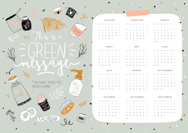 Calendário de desperdício zero 2021 bonito. calendário de planejador anual com todos os meses. bom organizador e agenda Vetor Premium