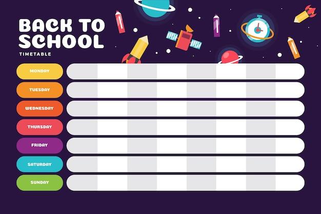 Calendário de escola de design plano com ciência Vetor grátis