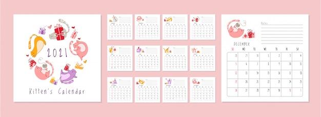 Calendário de festa de aniversário de gatos 2021 - gatinho engraçado no chapéu festivo, caixas de presente e presentes, bolo de aniversário e bebidas Vetor Premium