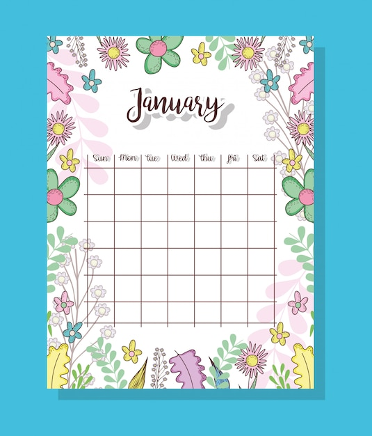 Calendário de janeiro com plantas e folhas de flores Vetor Premium