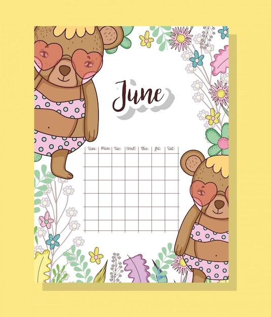 Calendário de junho com animal bonito ursos Vetor Premium