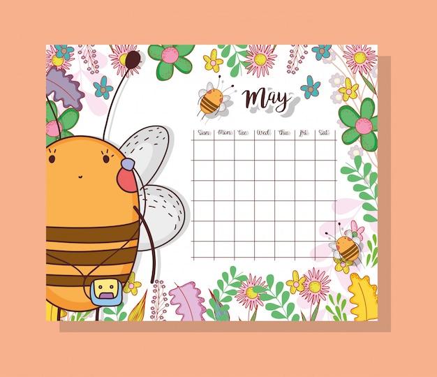 Calendário de maio com animal bonito abelha Vetor Premium