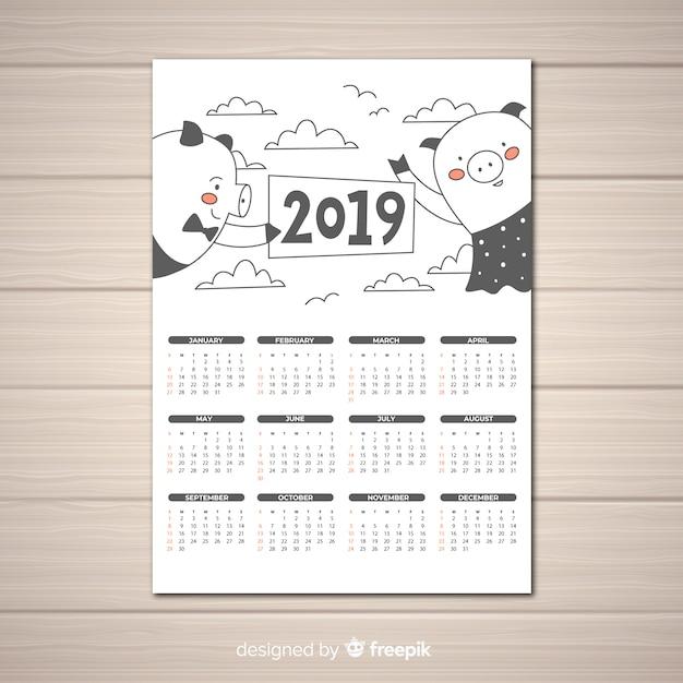 Calendário de mão desenhada 2019 Vetor grátis
