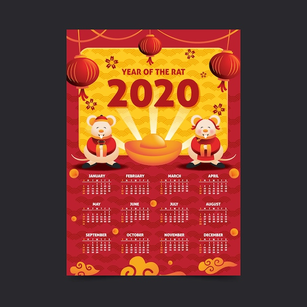 Calendário de mão desenhada ano novo chinês Vetor grátis