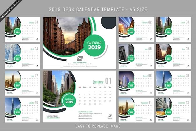 Calendário de mesa 2019 modelo a5 tamanho Vetor Premium