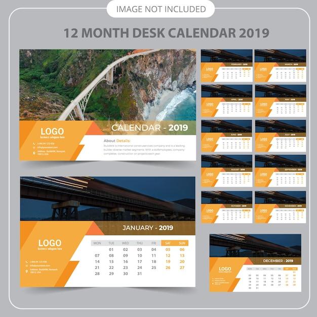 Calendário de mesa 2019 Vetor Premium