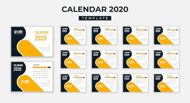 Calendário de mesa 2020 Vetor Premium