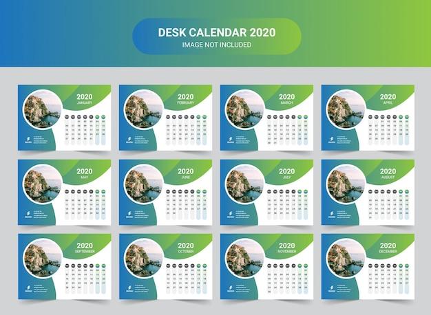 Calendário de mesa de ano novo de viagens 2020 Vetor Premium