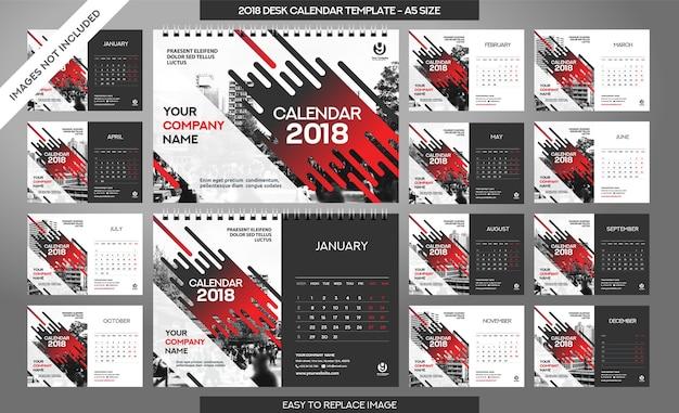 Calendário de mesa modelo 2018 - 12 meses incluídos Vetor Premium