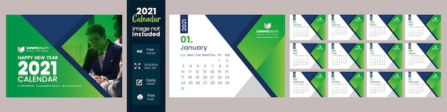 Calendário de mesa verde 2021 Vetor Premium