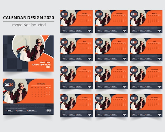 Calendario Moda 2020.Calendario De Moda 2020 Com 12 Meses Baixar Vetores Premium