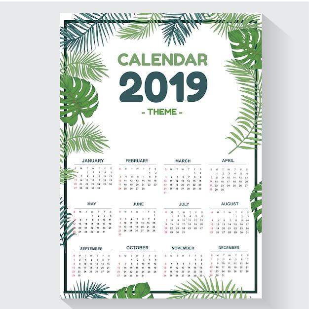 Calendário de modelo de folha 2019 tema design criativo e exclusivo Vetor Premium