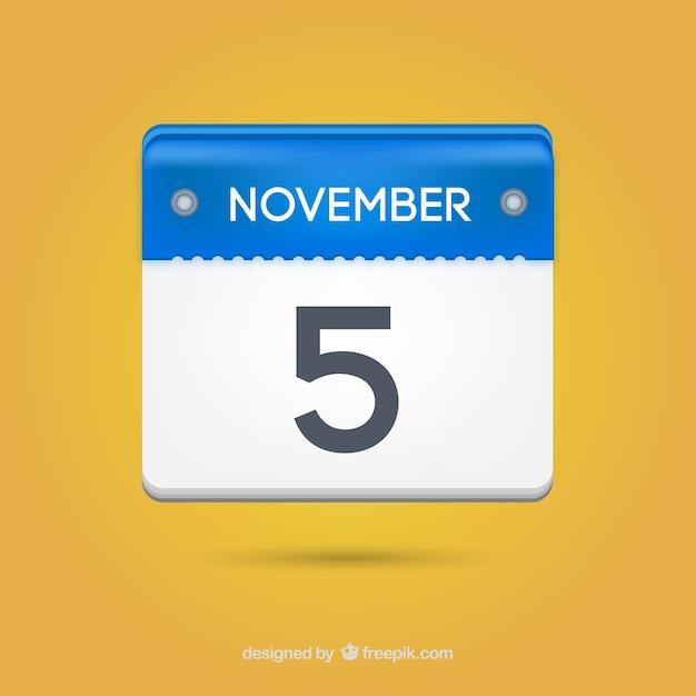 Calendário de papel cinco novembro Vetor grátis