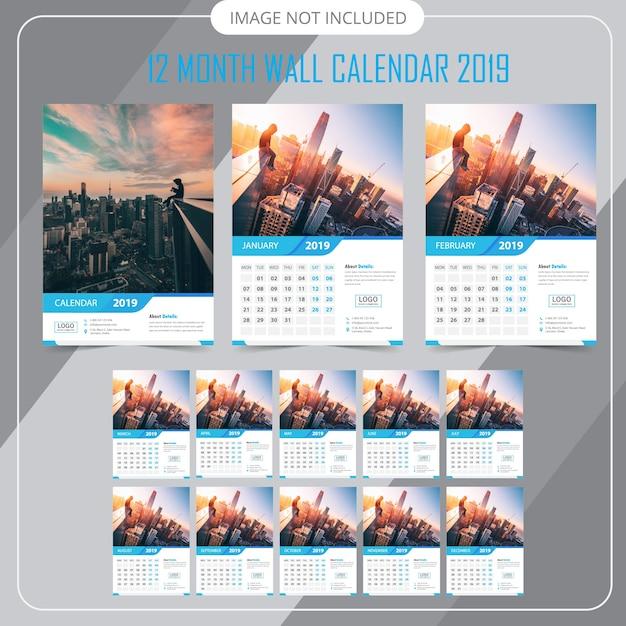 Calendário de parede 2019 Vetor Premium