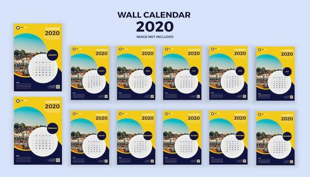 Calendário de parede 2020 Vetor Premium