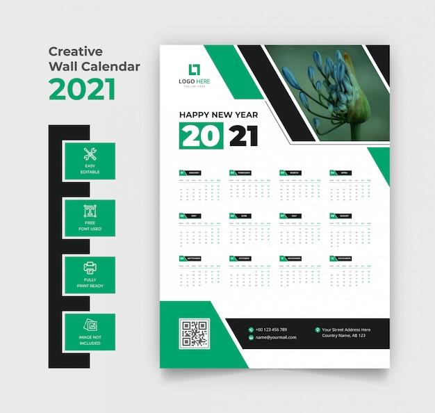 Calendário de parede 2021 verde Vetor Premium