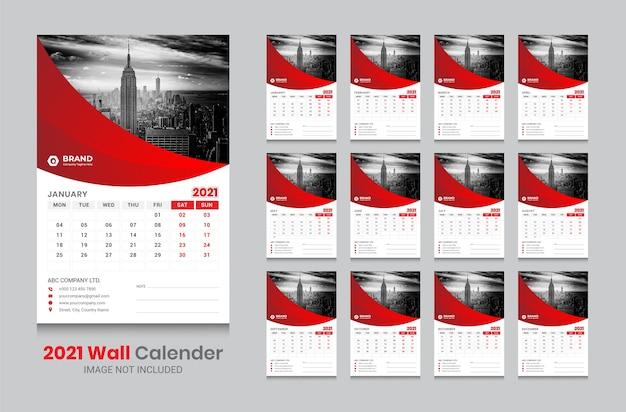 Calendário de parede 2021 Vetor Premium