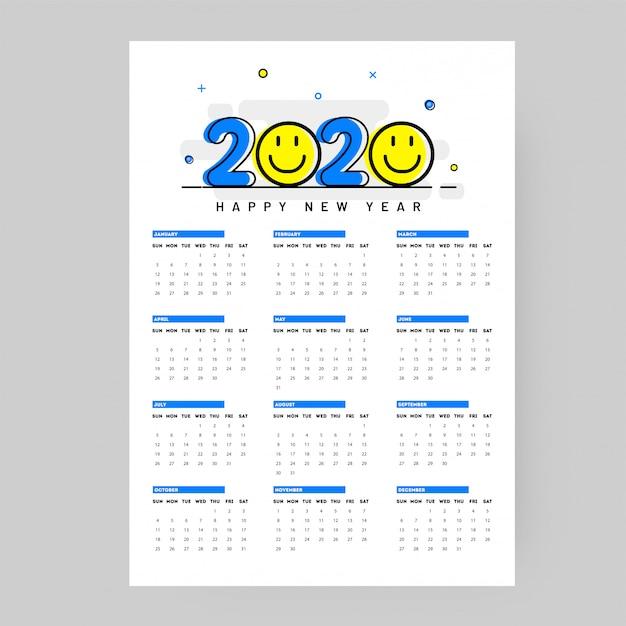 Calendário de parede anual para 2020 com emoticon sorridente em branco Vetor Premium