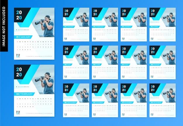 Calendário de parede de fotografia 2020 Vetor Premium