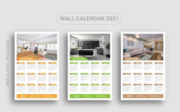Calendário de parede de uma página 2021 Vetor Premium