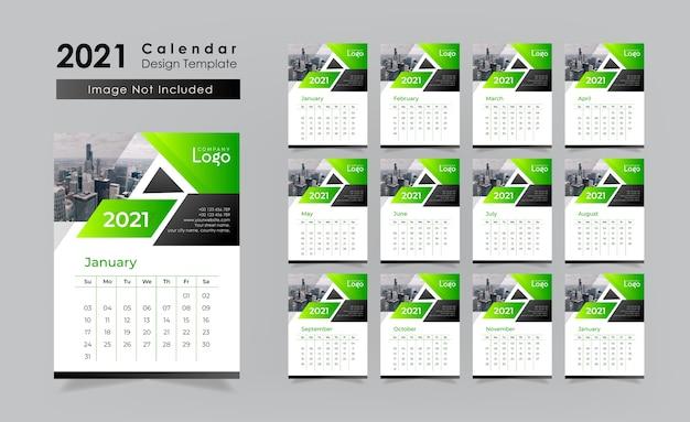 Calendário de parede verde Vetor Premium