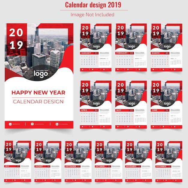Calendário de parede vermelho 2019 Vetor Premium