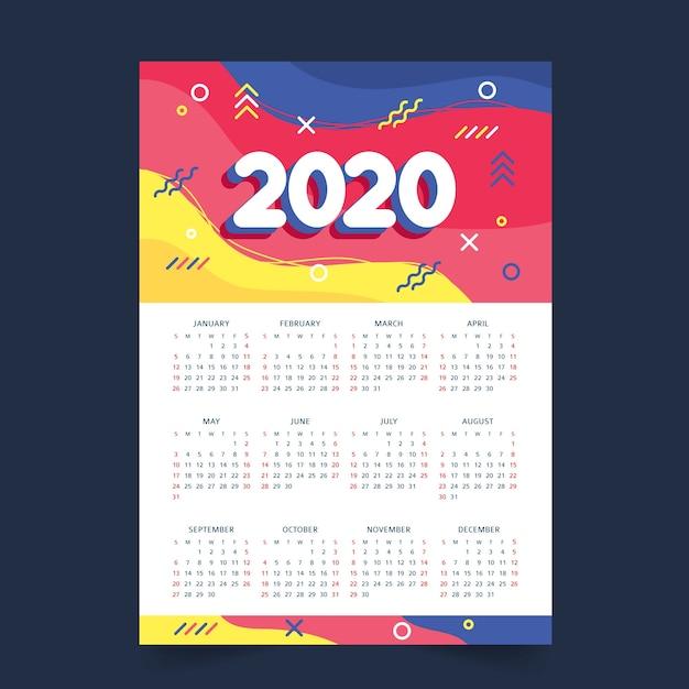 Calendário de programação anual colorido Vetor grátis