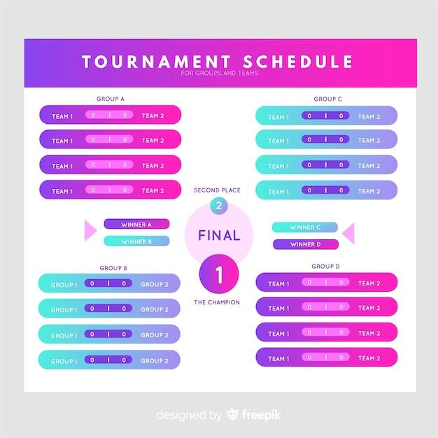 Calendário de torneio colorido com design plano Vetor grátis