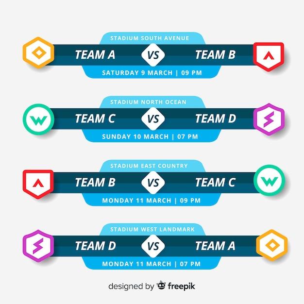 Calendário de torneio colorido com design plano Vetor Premium