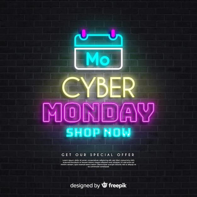 Calendário de vendas de cyber segunda-feira em luzes de neon Vetor grátis