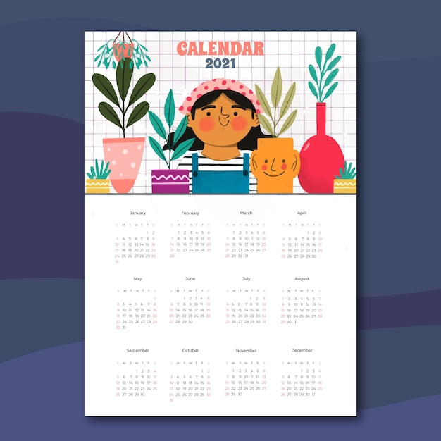 Calendário desenhado à mão para o ano novo de 2021 Vetor Premium