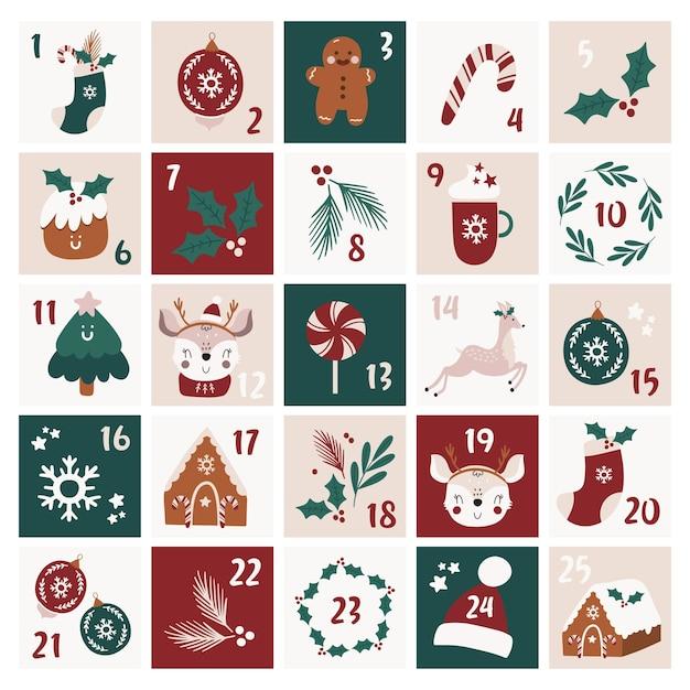 Calendário do advento de natal. Vetor Premium