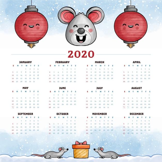 Calendário do ano novo chinês em aquarela Vetor grátis