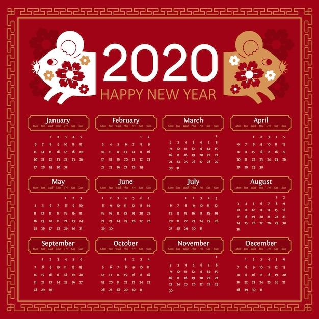 Calendário do ano novo chinês plana e ratos close-up Vetor grátis