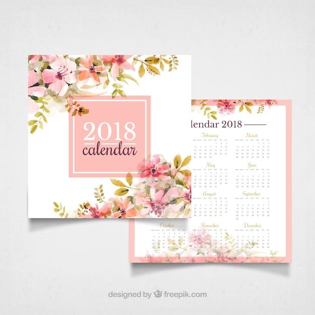 Calendário do vintage 2018 com flores da aguarela Vetor grátis