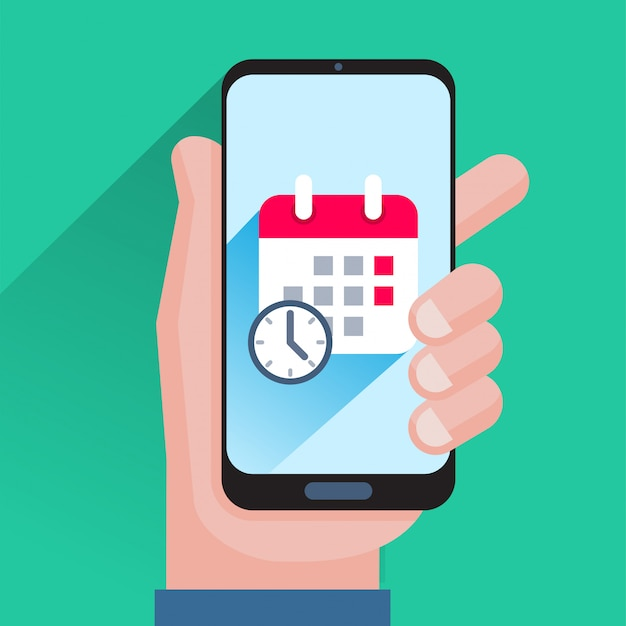 Calendário e relógio na tela do smartphone Vetor Premium