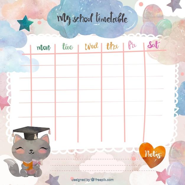 Weekly Calendar Horizontal : Calendário escolar bonito baixar vetores grátis