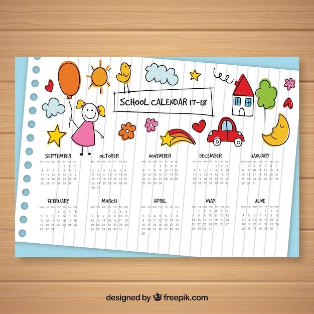 Calendário escolar com esboços de crianças Vetor grátis