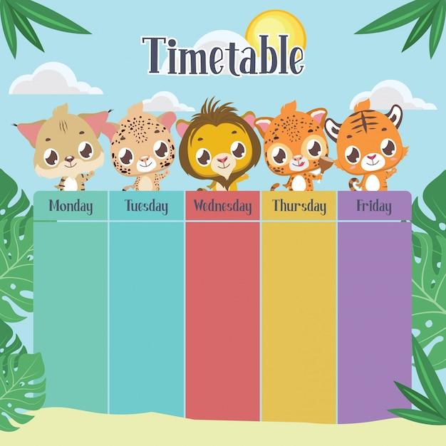Calendário escolar com felinos fofos Vetor Premium