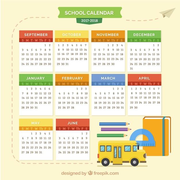 Calendário escolar com ônibus escolar e materiais Vetor grátis